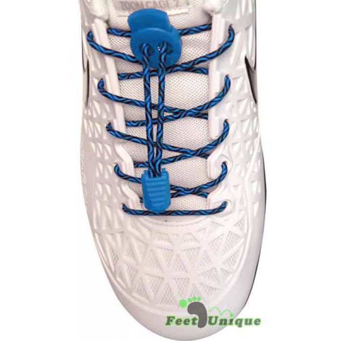 Sort og blå elastik snørebånd