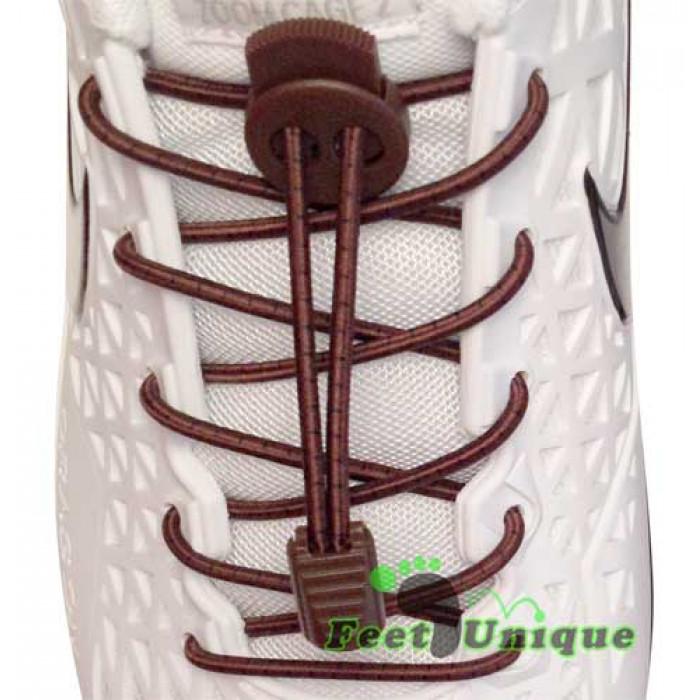 Mørkebrune stribet elastik snørebånd