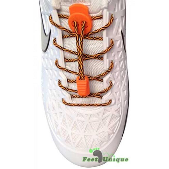 Sort & orange elastik snørebånd