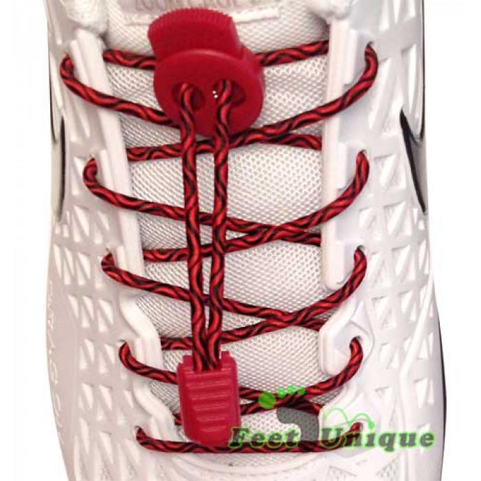 Sort og røde elastik snørebånd
