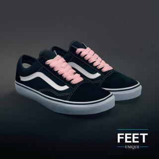 Lyserøde sneakers snørebånd