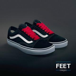 Røde sneakers snørebånd