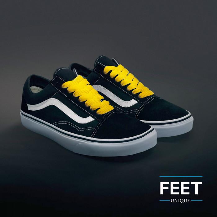 Gule sneakers snørebånd