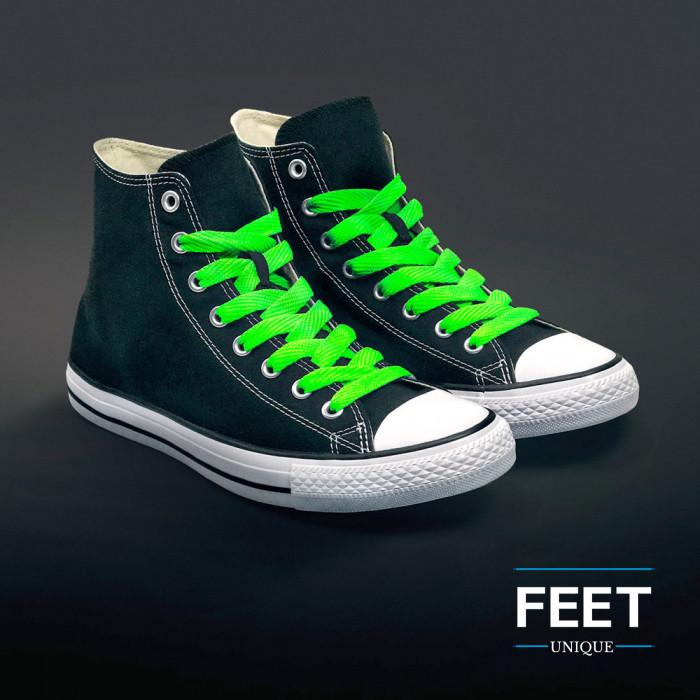 Neon grønne sneakers snørebånd