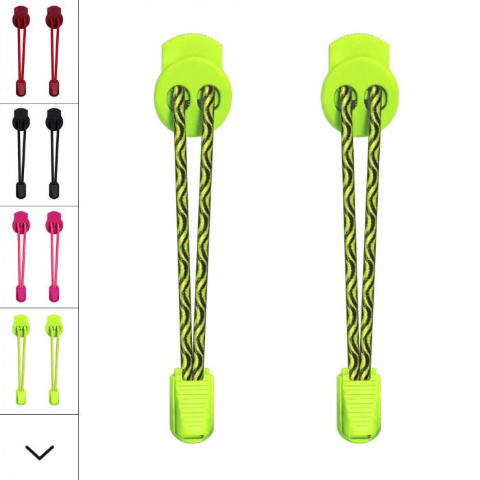 Sort og neon gule elastik snørebånd
