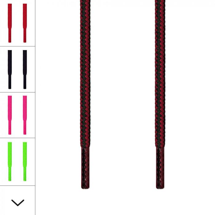 Runde sort & røde snørebånd