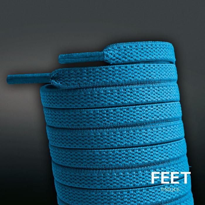 Flade, elastiske snørebånd i turkisblå (no tie)