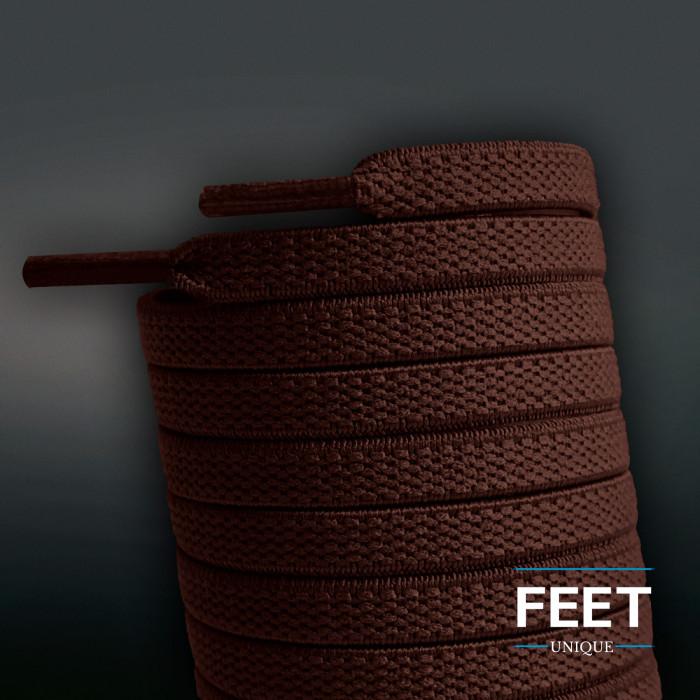 Flade, elastiske snørebånd i mørkebrun (no tie)