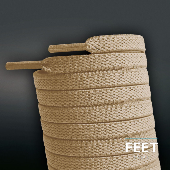 Flade, elastiske snørebånd i lysebrun (no tie)
