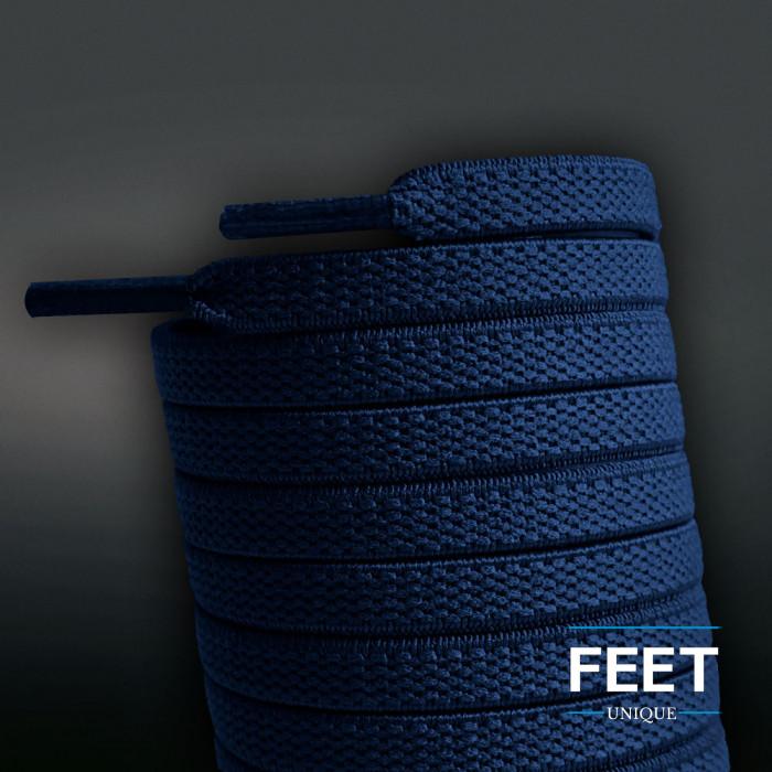Flade, elastiske snørebånd i navy blå (no tie)