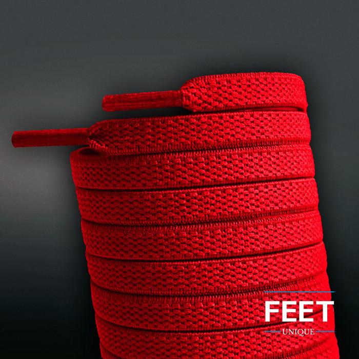 Flade, elastiske snørebånd i rød (no tie)