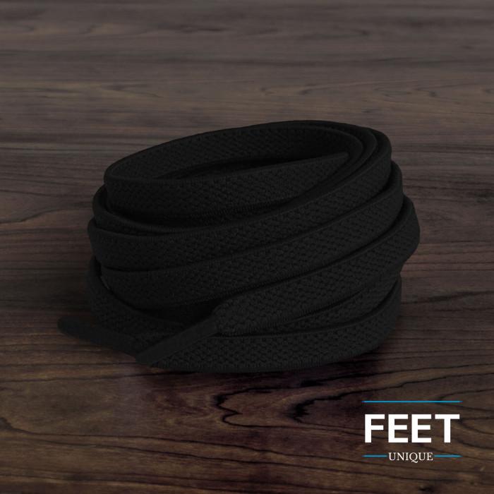 Flade, elastiske snørebånd i sort (no tie)
