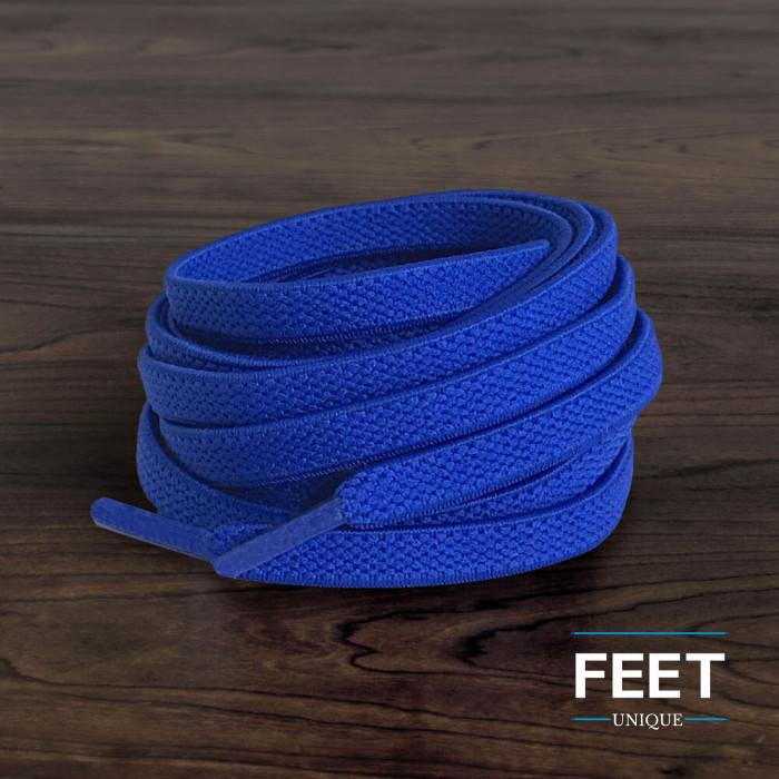 Flade, elastiske blå snørebånd (no-tie)