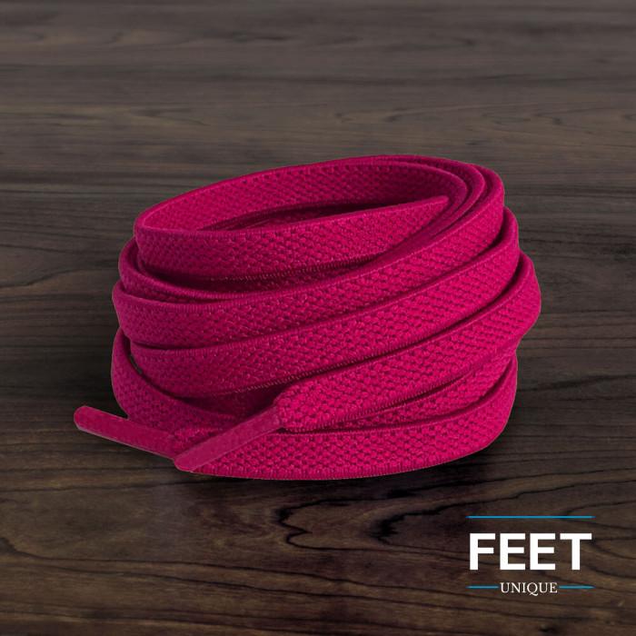 Flade, elastiske snørebånd i hot pink (no tie)