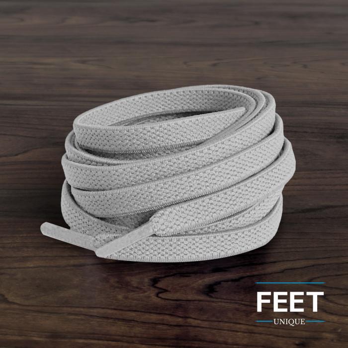 Flade, elastiske snørebånd i lysegrå (no tie)