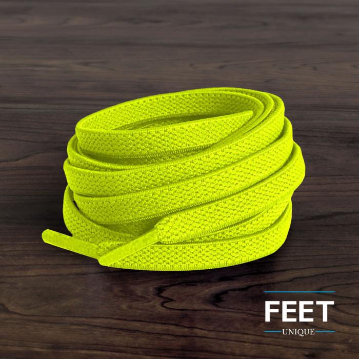 Flade, elastiske snørebånd i neon-gul (no tie)