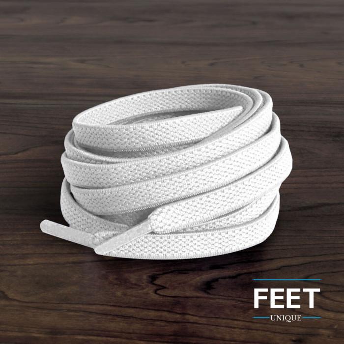 Flade, elastiske snørebånd i hvid (no tie)