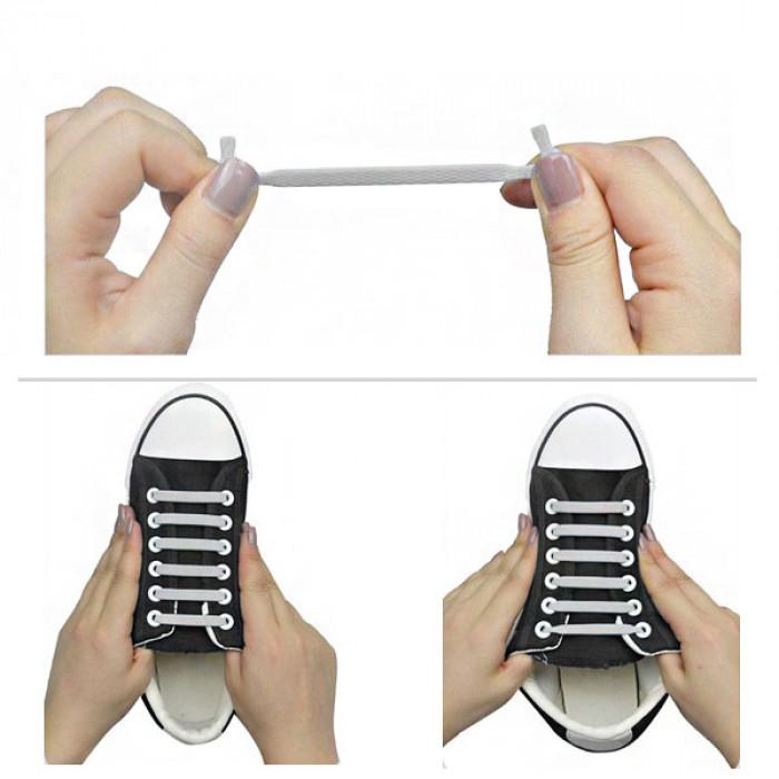 Sorte Elastiske Silikone Snørebånd (No-Tie)